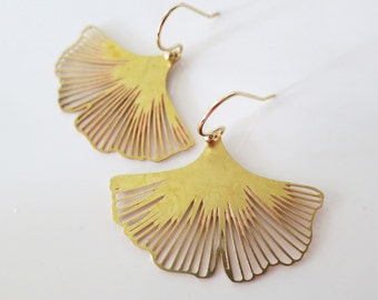 Inspirational,Gift,Raw Brass Leaf EarringsGold Ginkgo Earrings,Boho Wedding,Leaves Earrings,Ginkgo Leaf Earrings,Nature Woodland Jewelry