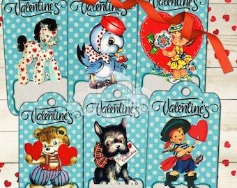 80% OFF Summer Sale Retro Valentine's Valentine Day Digital Large Gift Hang Tags Bookmarks Labels Printable Decoupage Scrapbooking Embellish