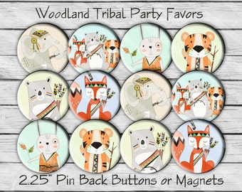 Woodland Tribal Animals 2.25 inch Pin Back Buttons or Magnets Set of 12 Party Favors, Showers, Birthdays