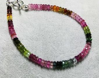 Tourmaline Bracelet-Watermelon Tourmaline Bracelet-Gemstone bracelet-Ombre Tourmaline Bracelets-Gifts for Her-October Birthstone
