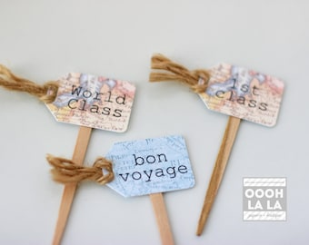 MADE TO ORDER Vintage Map Cupcake Picks- set of 12 with text