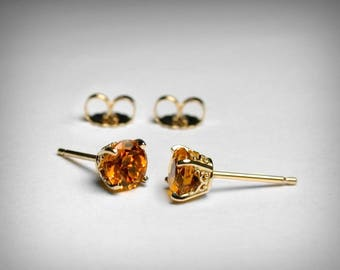 Citrine Stud Earrings, 14K Genuine AAA Citrine Earrings, 14K Yellow 14K White Gold Studs, Citrine Jewelry November Birthstone Stud Earrings