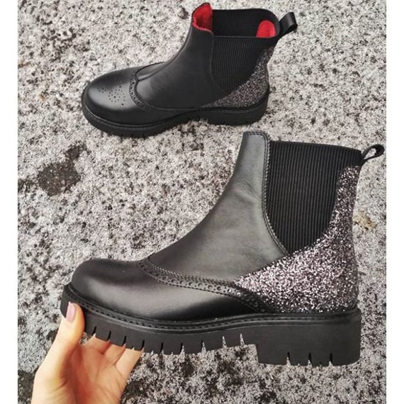 modern Black city ankle Urban boots TL0007 casual heel shoes shoes platform boots flat chelsea Comfy leather Custom Women shoes Chunky qwgZEapax