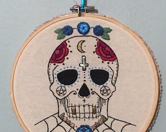 Sugar Skull Day of the Dead Vampire Hand Embroidery Home Decor