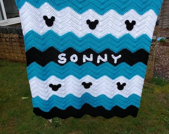 Personalized Mickey mouse handmade crochet blanket, baby boy, crib, pram, cot, blue,