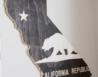 Stained California Cutout with California State Flag Engraved