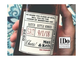 Private Listing for idozingernurse Officiant Label  - Groomsmen Proposal - Will you be our Officiant Liquor Label -  Labels for officiant