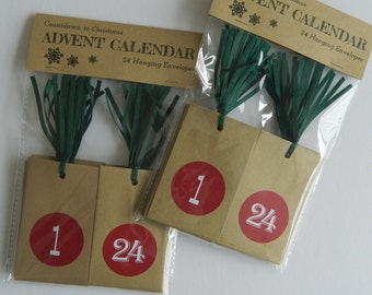 Advent Calendar - Countdown to Christmas ~ 24 Hanging Envelopes with Red stickers & green ribbon