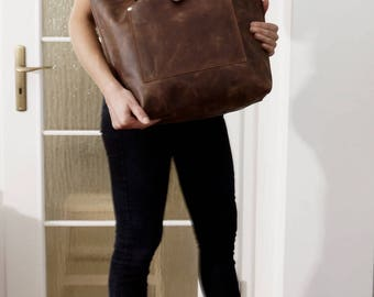 Antique brown Leather handbag Leather tote Leather tote bag Leather purse Leather shoulder bag, Ria size L