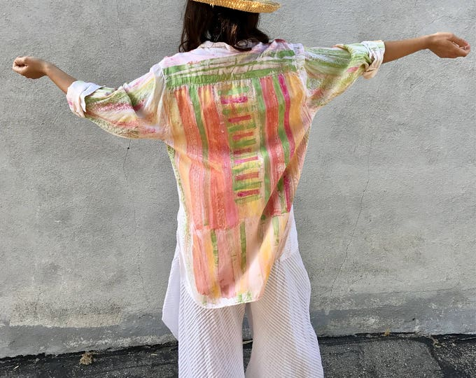 Hand painted floral summer button down shirt