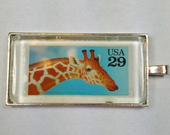 Giraffe Africa Wild Animals Melman World Wildlife Fund Genuine Postage Stamp Pendant Key Ring