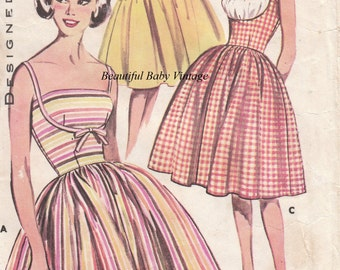 Vintage 1950s Ladies Dress Retro Rockabilly Sewing Pattern PRINTED COPY Size 14 16 18 Bust 36 38 40 inch