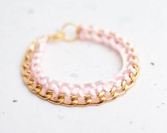 Gold Chain Braided Bracelet Light Pink Pastel Blush Modern minimalist jewelry