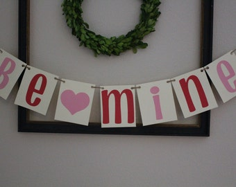 Be Mine Banner / Red & Pink / Hearts