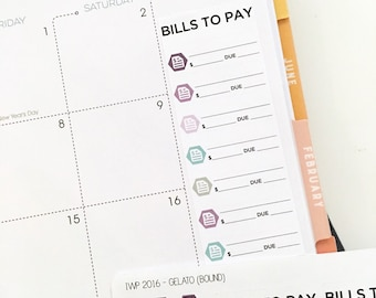Bill tracker stickers for BOUND 2017 Inkwell Press planner