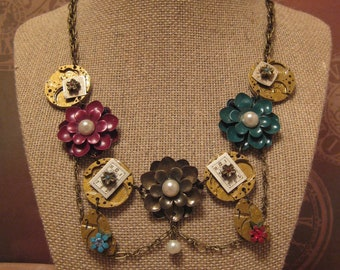 Flowers, Pearls & Gears Necklace/ Steampunk Floral Gear Necklace/ Floral Cosplay Necklace