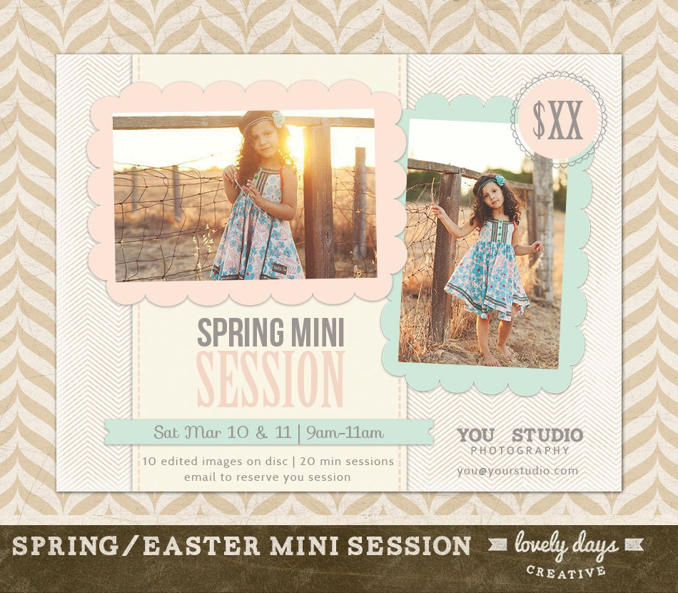 Spring mini session marketing board flyer ad template for zoom maxwellsz