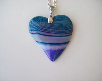 """Purple and Blue Striped Agate Heart Stone Pendant 2-1/3"""" long"""