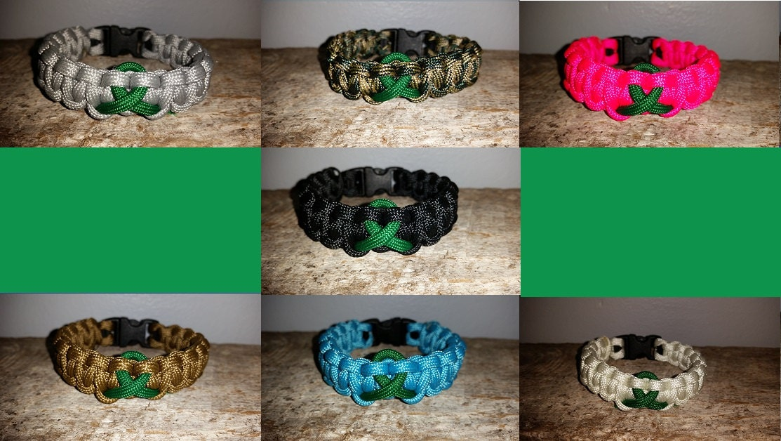 green liver paracord listing bracelet ribbon kidney fullxfull il awareness cancer survival
