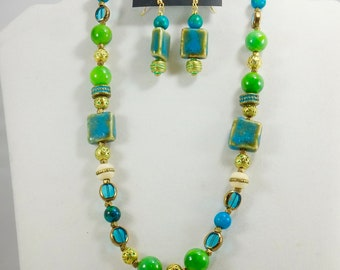 Monk Beads and Turquoise Beaded Necklace Set, Women's Accessories, Fashion Jewelry, Handmade, Brass, Chic, Chunky Necklace, OOAK, Gifts for