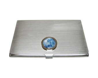Bordered Blue Moon Pendant Business Card Holder