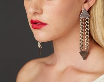 Triangle and Chains Long Drop Earrings, Shoulder Duster Earrings, Brass Earrings