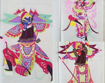 Vintage Chinese Paper Cut  Mask Warrior Hand Painted Hand Cut Yuxian County China Paper Cut-Out