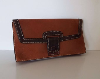 Vintage 1970's Leather Clutch Purse Handbag Evening Bag Retro
