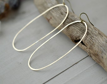 Oval brass hoops, modern hoop earrings, brass jewelry, handmade hoops, brass earrings