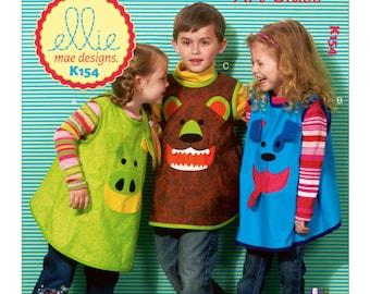 Sewing Pattern for Children's Animal Face Smocks, Kwik Sew # 0154, Childs Art Smocks, Craft Smock, Art Aprons