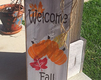 Primitive fall welcome sign, Rustic fall decor, welcome fall sign, autumn signs, wood fall sign, welcome signs, fall welcome sign,