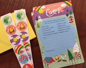 Camp Stationery, Camp letters, Write Home, Adventures from Camp letter set, stationery set