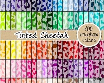 SALE 100 cheetah digital paper rainbow safari animal print digital paper scrapbooking kit pattern printable 12x12 pastel neutral bright dark