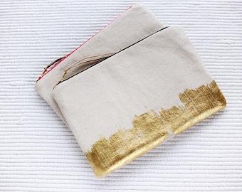 Gold Denim Pouch - Denim Clutch - Gold Pouch - Organiser Case- Make up Bag