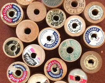 Wooden Spools 32 Vintage Thread Bobbins
