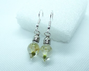 Dried snowdrop dangle earrings