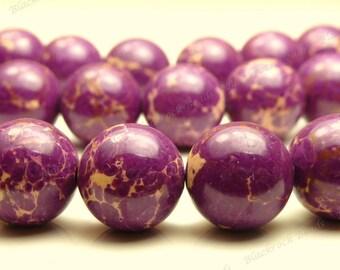 10mm Red Violet Aqua Terra Jasper Round Gemstone Beads - 20pcs - Purple Violet - BH19