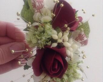 Wine Rose buds Hair Comb,Vintage Style, White Apple Blossom ,Gold Pearls,Hair Slide,Boho,Hair Accessory ,Wedding Hair,Prom Flowers,festival