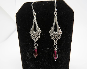 Silver Victorian and Red Garnet Earrings