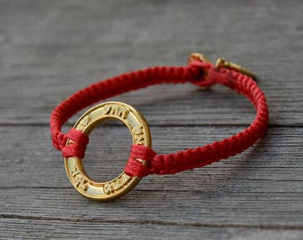 Good Fortune & Health Gold Plated Charm on Red Macrame Bracelet - Handmade for Men and Women
