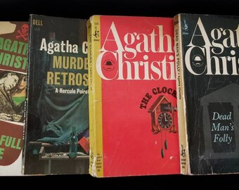 Set of 4 Vintage Agatha Christie Mysteries Pocket Book Edition