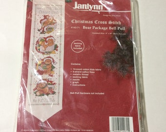 Janlynn Bear Package Bell Pull 140-71 Christmas Cross Stitch Kit No Bell Pull Made in USA