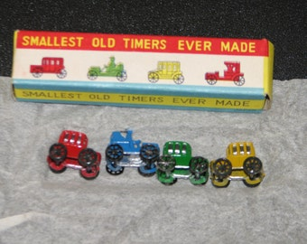 2 miniature car   sets hand painted NOS 1960's