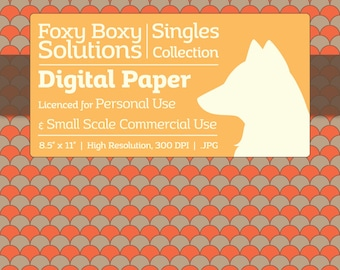 Scale Pattern on Kraft Digital Paper - Single Sheet in Orange - Printable Scrapbooking Paper