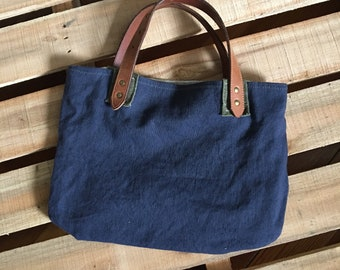 Upcycled Navy Canvas Tote