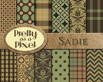 Digital Paper Pack - Sadie - Scrapbooking Backgrounds - Set of 12 - INSTANT DOWNLOAD