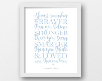 Always remember, Winnie the Pooh, Quote print, Disney quote, Minimalist, Modern wall art, Blue printable, Nursery decor, Children's art