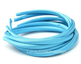 10pieces  blue satin plastic hair headband covered 10mm wide