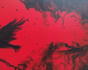 New Moon Raven, 12 x 24 Acrylic on Canvas, Fluid Art, Abstract Art, Wall Painting