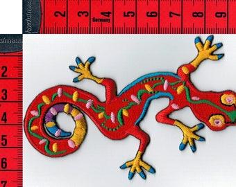 Patch fusible multicolor gecko, or sewing 10 x 6 cm lizard Patch Applique